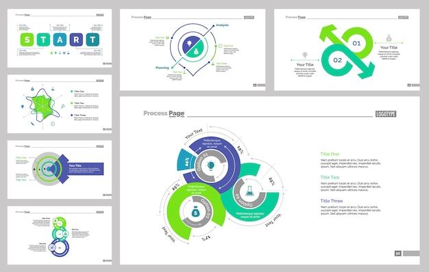 Siedem zestawów szablonów slajdów statystycznych