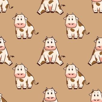 Siedząca krowa doodle stylu w jednolity wzór