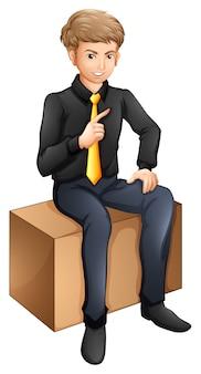 Siedzący biznesmen