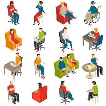 Siedzący ludzie zestaw ikon izometryczny