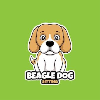 Siedzący pies beagle kreatywne kreskówka logo