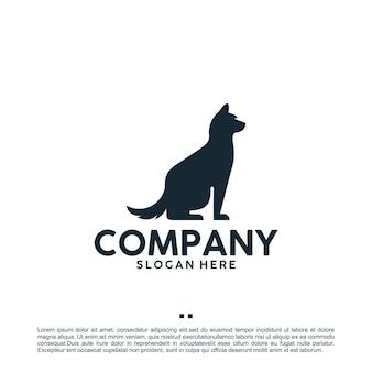 Siedzący pies, czarny, szablon projektu logo