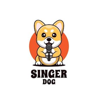 Siedzący pies piosenkarz kreatywne logo kreskówki