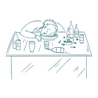 Siedzący pijany mężczyzna zasypia na stole z butelką alkoholu.