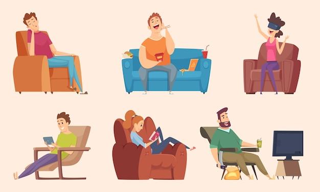 Siedzący tryb życia. mężczyzna i kobieta siedzi relaksujący jedzenie jedzenie leniwy pracujący gruby niezdrowe postacie oglądając telewizję wektor kreskówka. kobieta i mężczyzna siedzi na kanapie w domu ilustracji