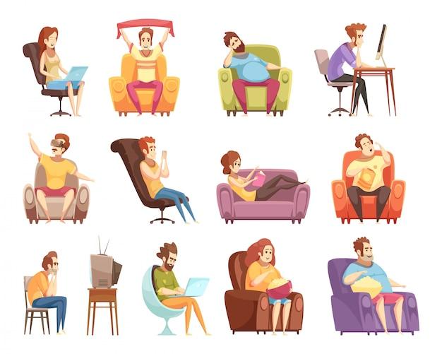 Siedzący tryb życia zestaw ikon retro kreskówka