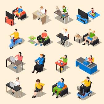 Siedzący tryb życia zestaw ikon
