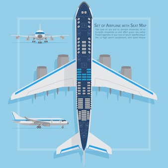 Siedzenia samolotów planują widok z góry. biznesowa i ekonomiczna klasa samolotowa mapa informacji wewnętrznej. ilustracji wektorowych. siedzisko, plan samolotu pasażera samolotu
