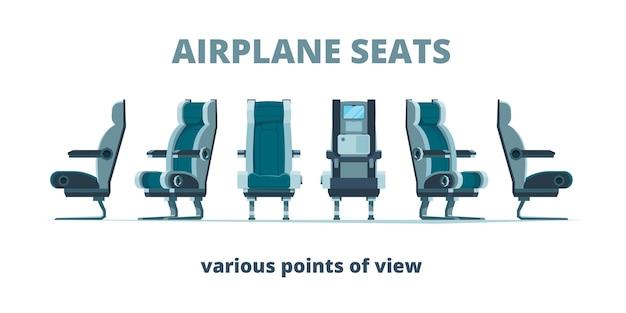 Siedzenie w samolocie. fotele we wnętrzu samolotu na płaskich zdjęciach z różnych widoków bocznych. ilustracja wnętrza samolotu, komfortowe krzesła