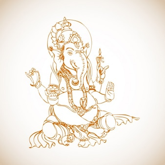 Siedzi Ganesha Drawing