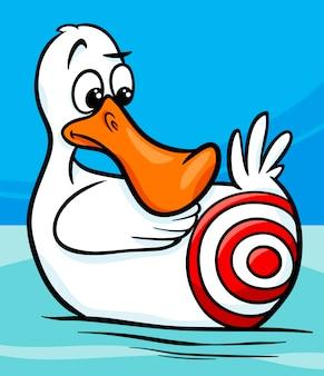 Siedzi kaczka mówiąc ilustracja kreskówka