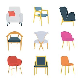Siedzi krzesła płaskie ikony
