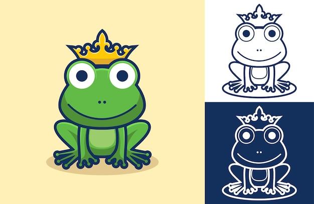 Siedzi śmieszna żaba w złotej koronie.