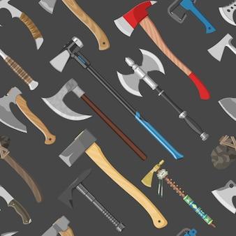 Siekiera wektor topór metalowy sprzęt z drewnianą rączką ilustracja zestaw siekiery z ostrym ostrzem do budowy i starożytnego narzędzia bezszwowe tło wzór