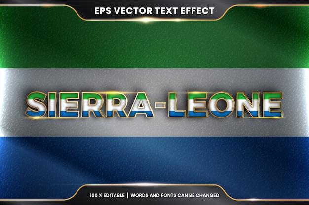 Sierra leone z flagą kraju, edytowalny styl efektu tekstu z koncepcją koloru złota
