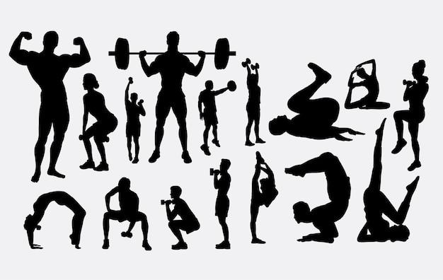 Sihouette ćwiczeń budowy ciała