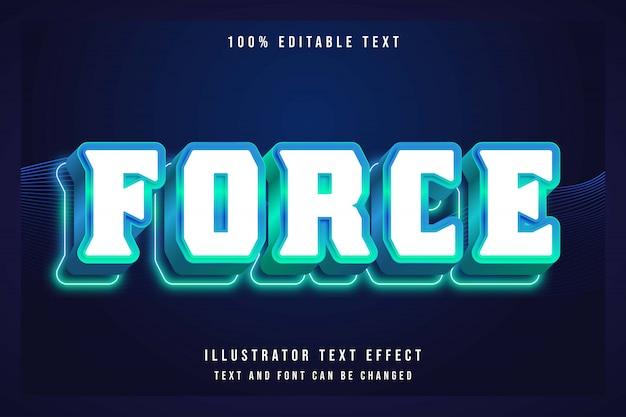 Siła, 3d edytowalny zielony gradacja niebieski efekt tekstowy nowoczesny cień neon styl