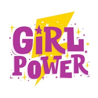 Siła dziewczyn. motywacja zabawny napis i błyskawica. hasło feminizmu.