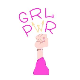 Siła dziewczyny z kreskówki przedstawiającej kobiecą pięść jako znak walki o prawa. ilustracja wektorowa.