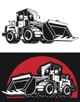 Silhouette bulldozer earthmover construction heavy machinery