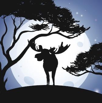 Silhouette deer i forest scene