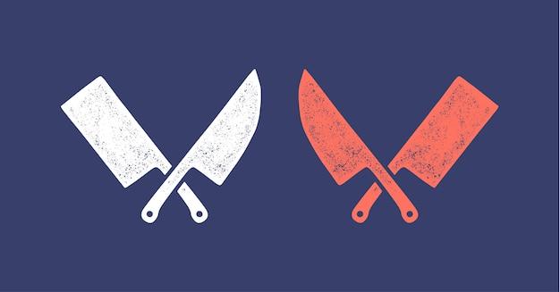 Silhouette dwa noże rzeźnicze - tasak i noże szefa kuchni.