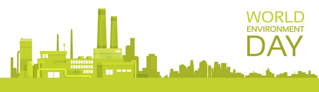Silhouette green plant world environment day factory banner