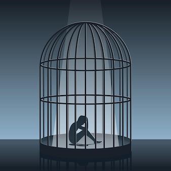 Silhoutte opowiadający historię o człowieku w klatce