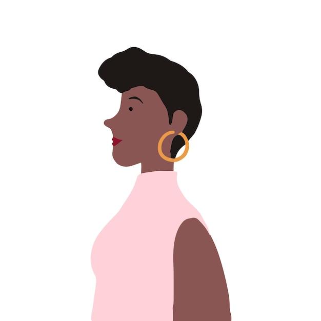 Silna amerykanina afrykańskiego pochodzenia kobieta w profilowym wektorze