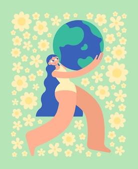 Silna piękna kobieta w białym kostiumie kąpielowym niesie planetę ziemię