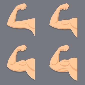 Silne ramię z przykurczonymi bicepsami. ilustracja mięśni w stylu cartoon.