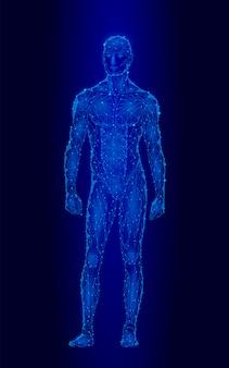 Silne, zdrowe ciało stojące model 3d low poly design, humanoidalny robot z androidem