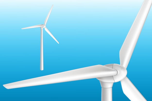 Silnik wiatrowy na basztowej realistycznej odosobnionej ilustraci. efektywny system energii odnawialnej.