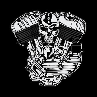 Silnik z projektem czaszki