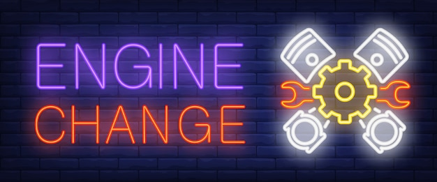 Silnik zmień znak w stylu neonowym