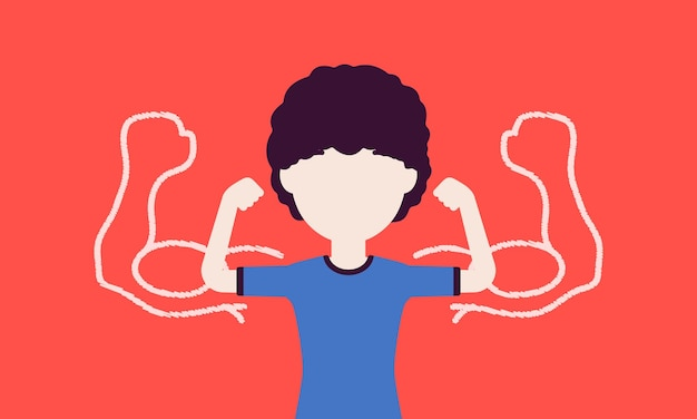Silny chłopak pokazujący bicepsy. uczeń sportowca stara się zaimponować mięśniami, dzieciak lubi sport, zdrowy tryb życia, aby rosnąć w wielkiej sile fizycznej. ilustracja wektorowa z postacią bez twarzy