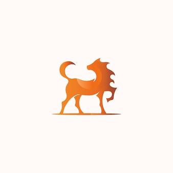 Silny i elegancki piękny koński symbol maskotki logo