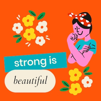 Silny jest piękny, edytowalny wektor szablonu z postacią retro kobiety, koncepcja wzmocnienia pozycji kobiety