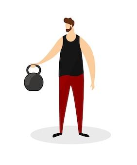 Silny mężczyzna na pełnej wysokości robi ćwiczenia z ciężarem