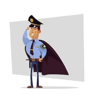 Silny odważny bohater superbohatera policjanta w pelerynie