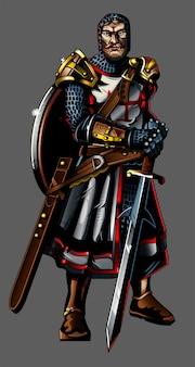 Silny średniowieczny templariusz krzyżowiec z brodą i dużą tarczą trzymają duży ostry miecz. metalowa zbroja z dużym płaszczem. nowożytnego stylowego postać z kreskówki ilustracyjna płaska gemowego projekta ikony maskotka.