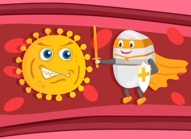 Silny strażnik pigułek supethero z mieczem i tarczą walczy z bakteriami lub wirusem na krwi