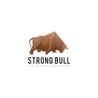 Silny szablon logo gradientowego byka