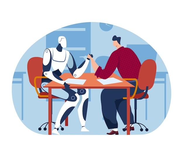 Siłowanie się na rękę z maszyną technologiczną, konkurencja sztucznej inteligencji człowieka i przyszłego robota naukowego, ilustracja.