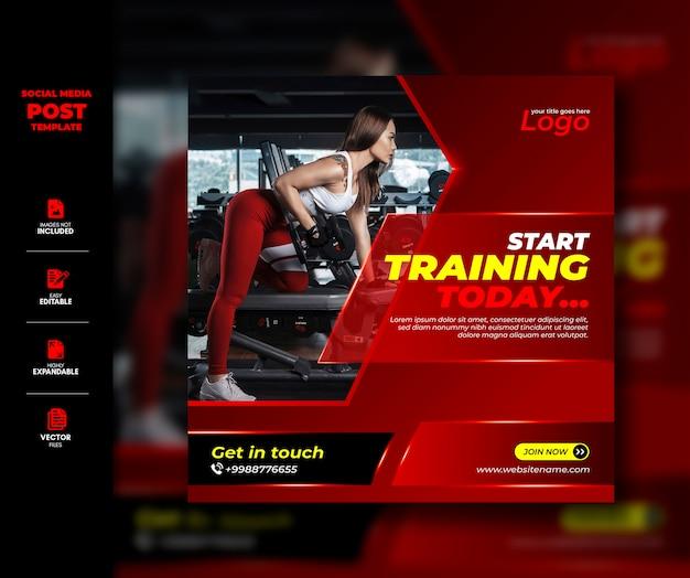 Siłownia fitness media społecznościowe post instagram story square banner szablon