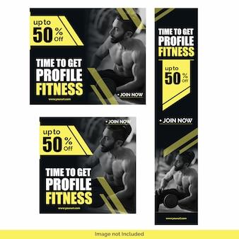 Siłownia fitness media społecznościowe szablon projektu pakiet
