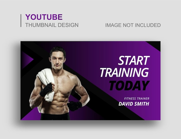 Siłownia fitness miniatura wideo youtube i szablon banera internetowego