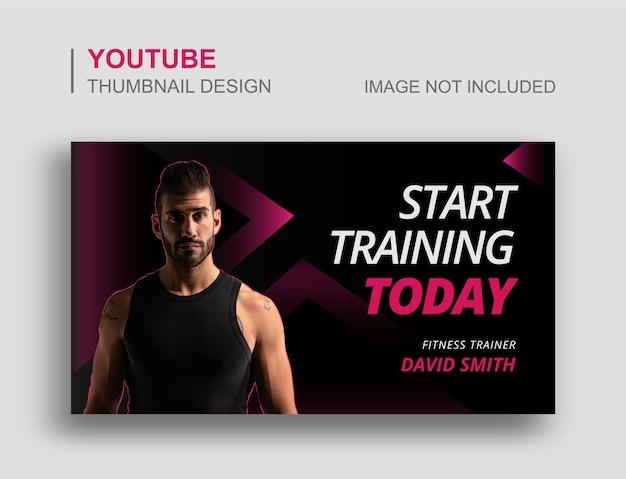 Siłownia fitness miniatura youtube i szablon banera internetowego
