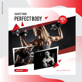 Siłownia, fitness social media post banner design
