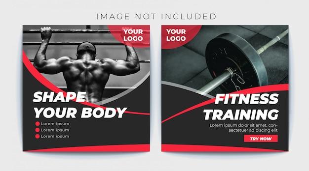 Siłownia fitness transparent szablon post mediów społecznościowych